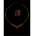 Red heart necklace set vector
