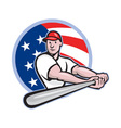 American baseball player batting cartoon vector