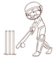 A simple sketch of a man playing cricket vector