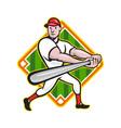 Baseball player batting diamond cartoon vector
