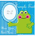 Baby postcard with frog vector