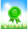 Natural green badge on grass background vector