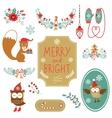 Cute collection of christmas decorative elments vector