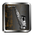Steel icon saxophone engraving vector