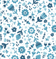 Blue floral print pattern vector
