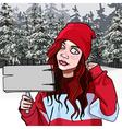 Cartoon teen girl with a signboard in the winter vector