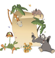 Animals with blank sign board cartoon vector
