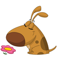 Dog smelling flower vector