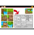 Cartoon bear jigsaw puzzle game vector