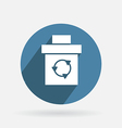 Circle blue icon with shadow basket garbage vector