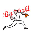 Baseball pitcher player cartoon vector