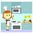 Mom cooking in the kitchen vector
