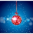 Red sparkling christmas ball vector