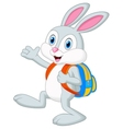 Rabbit cartoon with backpack vector