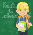 Cute schoolboy with textbooks and notebooks vector