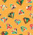 Yellow seamless pattern with diamonds vector