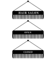 Set of hair salon combs open and closed vector