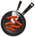 Breakfast sausage pan spoon vector