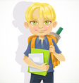 Cute schoolboy with textbooks on white vector