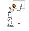 Stick figure basketball vector