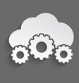 White cloud with cogs 3d vector