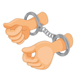 Hands cuffed vector