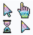Pixel cursors icons mouse hand arrow hourglass vector