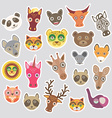Sticker set of funny animals muzzle vector