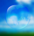 Blue earth with map on blurred sky vector