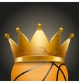 Background of basketball ball with royal crown vector