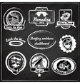 Surfing emblems chalkboard vector