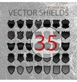 Abstract shields black forms set isolated vector