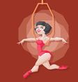Pin-up cartoon girl circus aerial artist vector