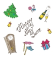 Doodle new year elements set in sketch style vector
