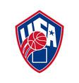 United states usa american basketball ball shield vector