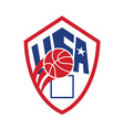 United states usa american basketball ball shield vector