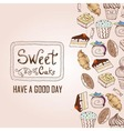 Background with cakes decorative sketch vector