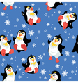 Seamless pattern with funny penguins and snowflake vector