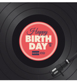 Vinyl happy birthday red card vector