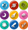 Round icons with things in the outerspace vector