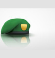 Light background green military beret army special vector