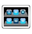 Eye blue app icons vector