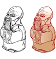 Netsuke figure black and white and color pictures vector