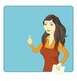 Girl points at the background vector