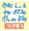 Hand drawn bicycle set vector