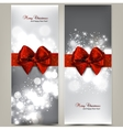 Greeting cards with red bows and copy space vector