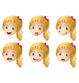 Girl faces with various expressions vector