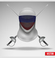 Fencer sword and mask with russia flag vector