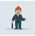 Hipster businessman in glasses with case hipster vector