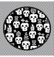 Funny skull pattern with flowers vector